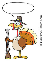 Thanksgiving Pilgrim Turkey Bird - Happy Turkey With Pilgrim...
