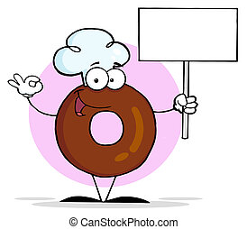 Friendly Donut Cartoon Character Ho - Donut Character...