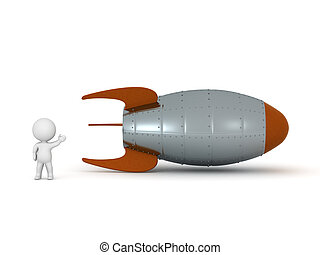 3D Character with a Rocket