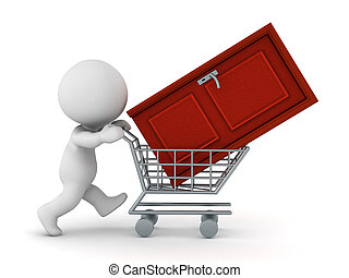 3D Character Pushing Shopping Cart with Door - 3D character...