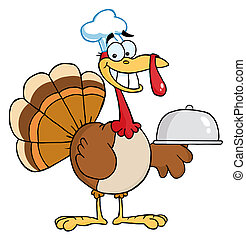 Happy Turkey Chef - Thanksgiving Turkey Bird Chef Holding A...