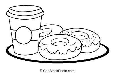 Coffee Cup With Donuts - Coloring Page Outline Of A Cup Of...