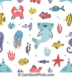 Sea life seamless pattern. Hand drawn algae, blowfish,...