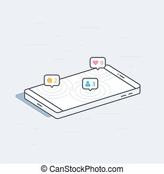 Isometric mobile phone with social network notifications...