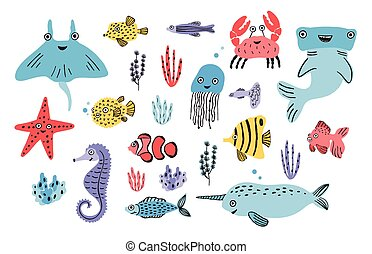 Sea life set. Hand drawn algae, blowfish, jellyfish, crab,...