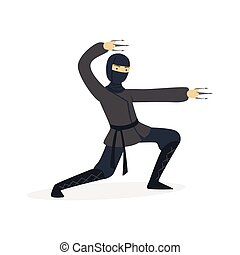 Ninja assassin character in a full black costume fighting with stainless claws, Japanese martial art vector Illustration