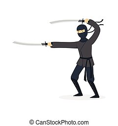 Ninja assassin character in a full black costume fighting with katana swords, Japanese martial art vector Illustration