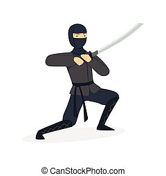 Ninja assassin character in a full black costume fighting with katana sword, Japanese martial art vector Illustration