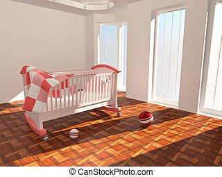 Children's bed in an empty room, lit by sunlight. 3d