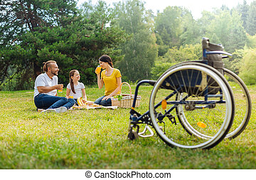 Family of a disabled man drinking juice in the meadow -...