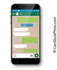 Black realistic Smartphone chatting or messaging app. Social network concept. Mobile phone with Messenger window. Vector illustration