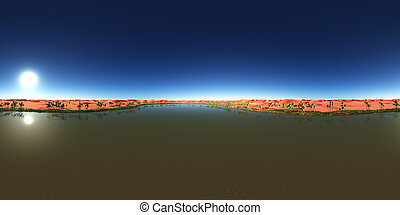 Spherical 360 degrees seamless panorama with a desert oasis