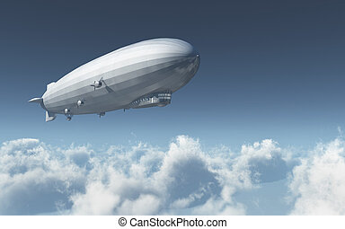 Airship over the clouds - Computer generated 3D illustration...