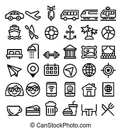 Travel vector line icons set, transport, holidays ,...
