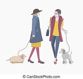 Young girls walking with dogs, Colorful flat vector illustration.
