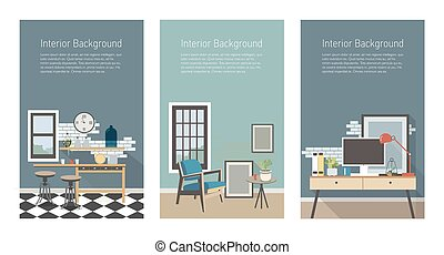 Modern interior banners set. Kitchen, living room, workplace...