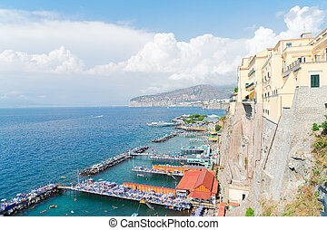 Sorrento, southern Italy - embankment and beach of Sorrento,...
