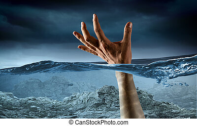Hand of person drowning in water . Mixed media - Man...