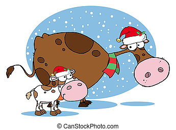 Christmas Cows - Spotted Calf By A Mom Dairy Cow With Santas...