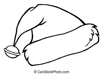Outlined Santa's Hat - Coloring Page Outline Of A Bell On A...