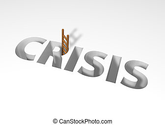 crisis - the word crisis and a ladder - 3d illustration
