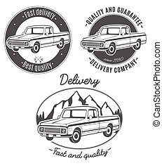 Set of vector logos with pickup truck.