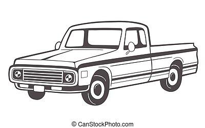 Pickup truck. Vector illustration.