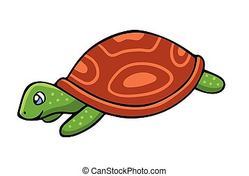 Vector illustration in cartoon style isolated on white. Turtle.
