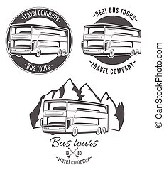 Set of vector logos with tourist bus.