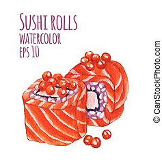 Watercolor style vector illustration of sushi.
