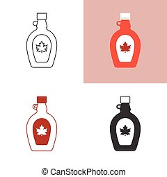 maple syrup icon set, silhouette, outline and flat icon