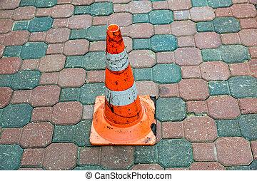 Orange road cone sign - Plastic striped orange road sign in...