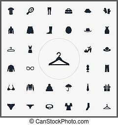 Vector Illustration Set Of Simple Clothes Icons. Elements...