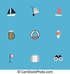 Vector Illustration Set Of Simple Travel Icons. Elements Pub, Optical Zoom, Cargo And Other Synonyms Boat, Luggage And Alcohol.