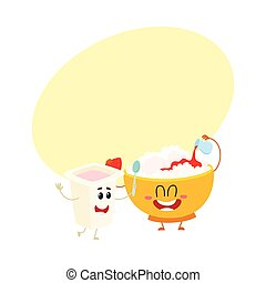 Smiling bowl of cottage cheese and yougurt cup characters, healthy breakfast