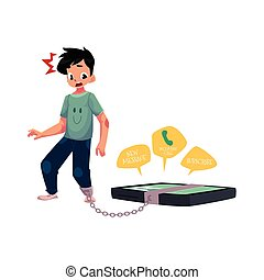 Boy chained to huge smartphone, phone dependence - Teenage...