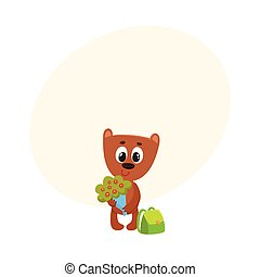 Teddy bear student character with backpack holding bunch of flowers