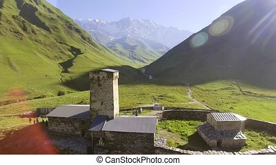 Aerial view of Ushguli village at the foot of Mt. Shkhara....