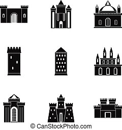 Castles icon set, simple style