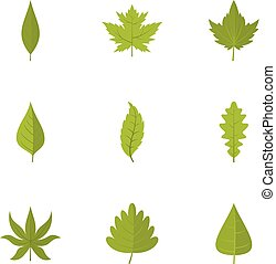 Green leaf icons set, flat style