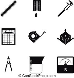 Measurement icon set, simple style