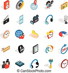 Technical detail icons set, isometric style - Technical...