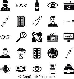 Medical student icons set, simple style - Medical student...