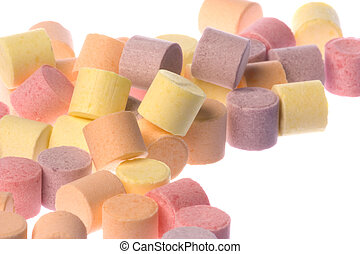 Colourful Fruit Candies Isolated - Isolated macro image of...