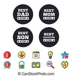 Best mom and dad, son, daughter icons. - Best mom and dad,...