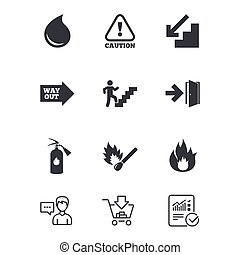 Fire safety, emergency icons. Extinguisher sign. - Fire...