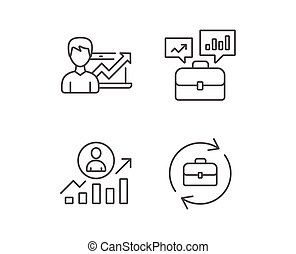 Portfolio case, Business results and HR icons.