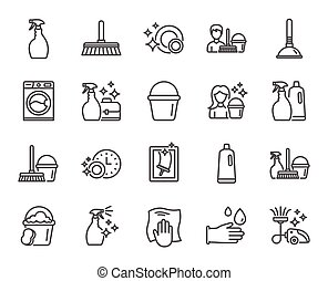 Cleaning line icons. Laundry, Sponge and Vacuum. - Cleaning...