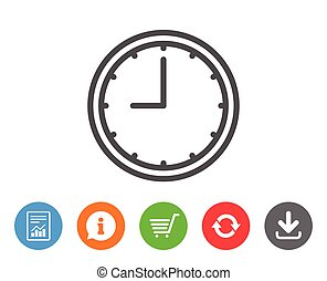 Clock line icon. Time or Watch sign. - Clock line icon. Time...