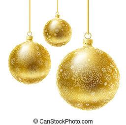 Christmas balls. - Golden realistic vector Christmas balls...